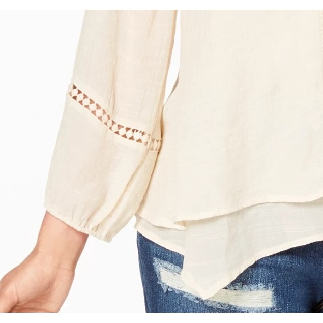 Style & Co Women's Lace-Yoke Handkerchief-Hem Top White Size Small