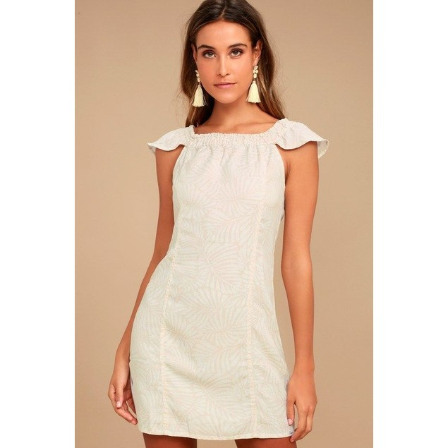OBEY Women's Skylar Off the Shoulder Dress, Cashew Multi, SIZE XS