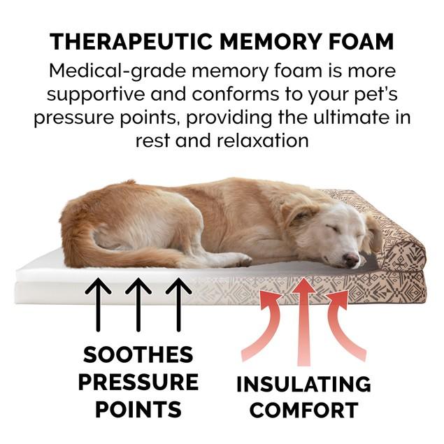 FurHaven Memory Foam Kilim Deluxe L-Chaise Lounge Pet Bed