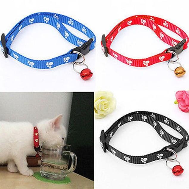 Cat Dog Puppy Adjustable Footprint Nylon Strap Collar with Bell