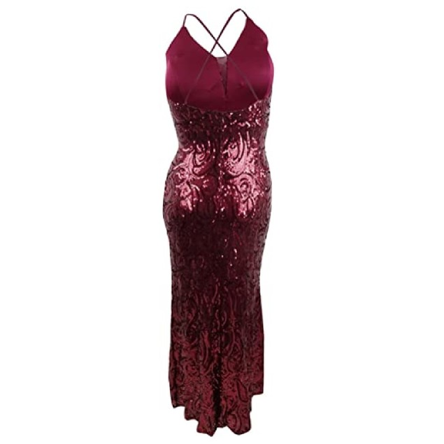 Nightway Women's Allover-Sequin Gown Red Size 14