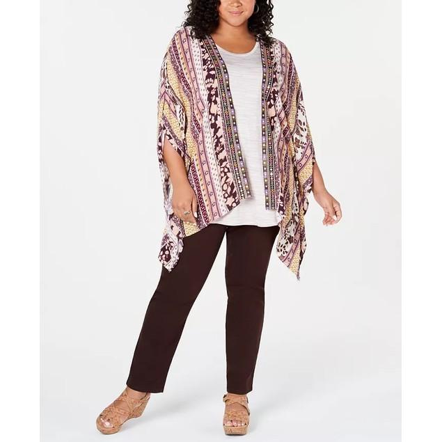 Style & Co Women's Plus Printed Embroidered Kimono Medium Beige Size 1X