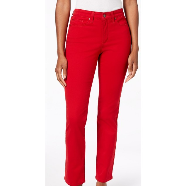Charter Club Women's Lexington Straight-Leg Jeans Red Size 14