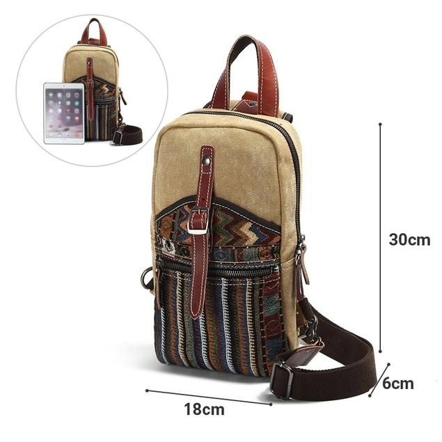 Unisex Canvas Sling Chest Bag Shoulder Bag Outdoor Hiking Bicycle Backpack
