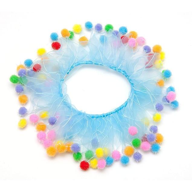 Midlee Blue Birthday Pom Pom Dog Collar
