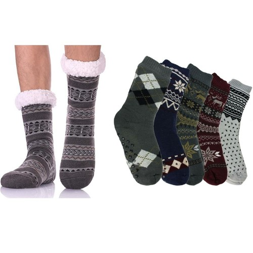 3-Pairs Men's Assorted Soft Fluffy Sherpa Slipper Socks