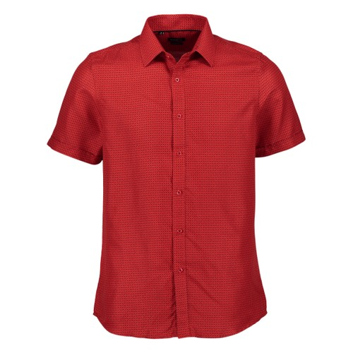 Rosso Milano Modern Fit Short Sleeve Red Houndstooth Dress Shirt
