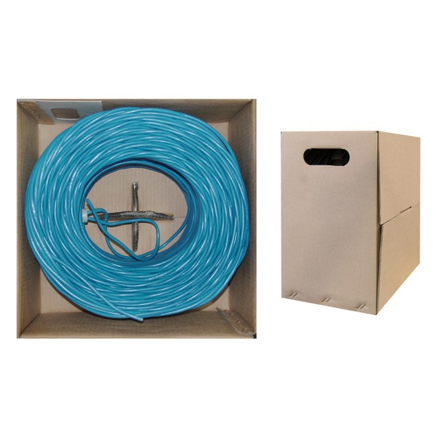 Plenum Cat5e Bulk Cable, Blue, Solid, UTP  CMP, 24 AWG, Pullbox