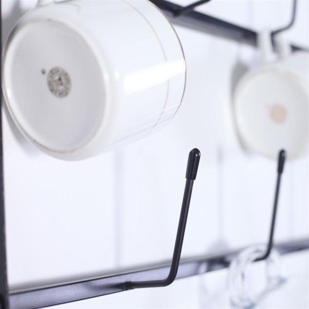 Wall Mounted Home Storage Mug Hooks With 6-Tier Display Organizer