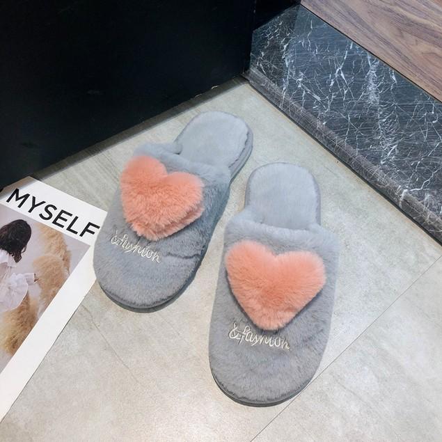 Women's V Day Heart Warm And Velvet Love Slippers