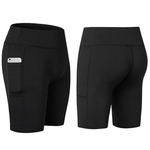 Spandex Shorts With Side Phone Pocket