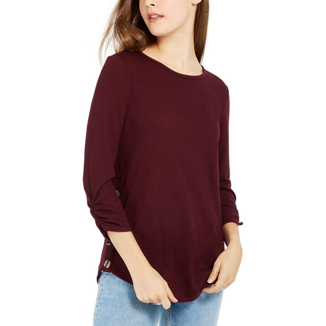 BCX Juniors' Women's Textured Button-Trimmed Top Red Size Small