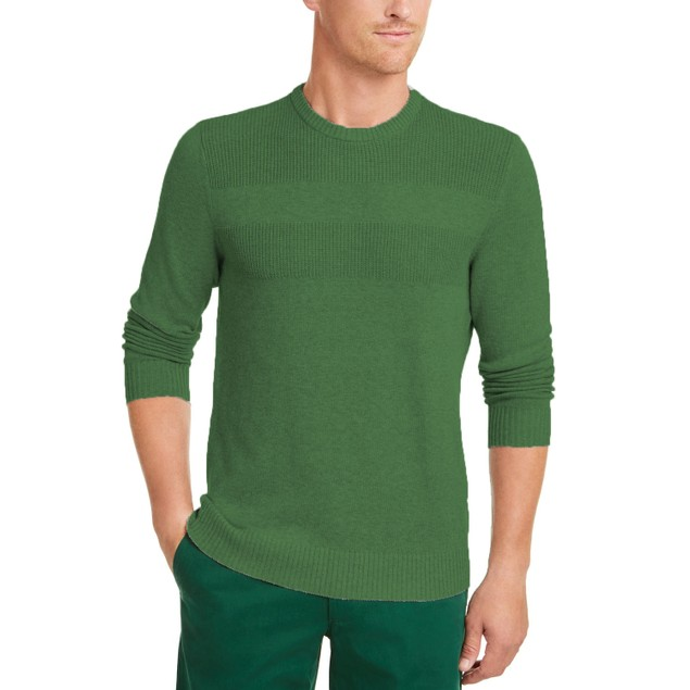 Club Room Cotton Solid Textured Crew Neck Sweater Green 2 Extra Large