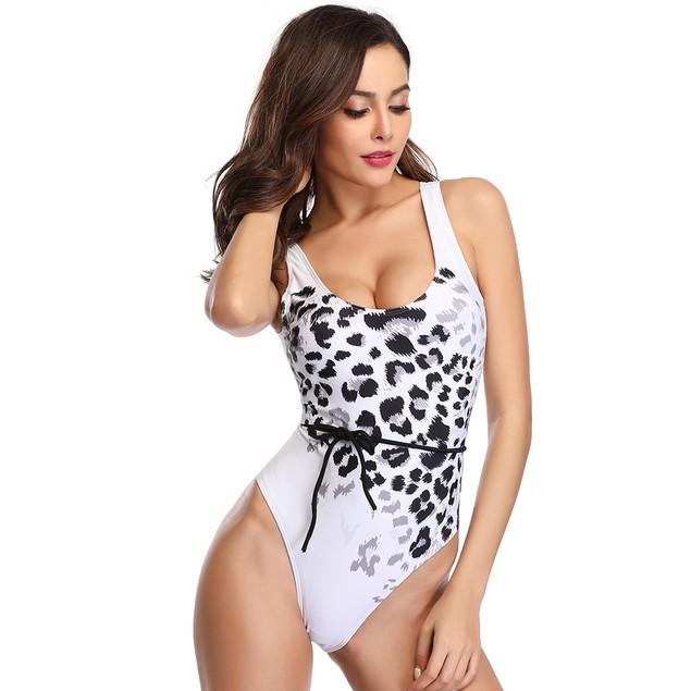 Leopard Print 1 Piece Swimsuit with Optional Waist Tie