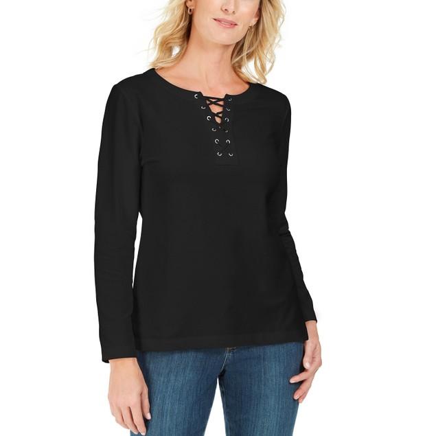 Karen Scott Women's  Lace-Up French Terry Sweatshirt White Size Medium