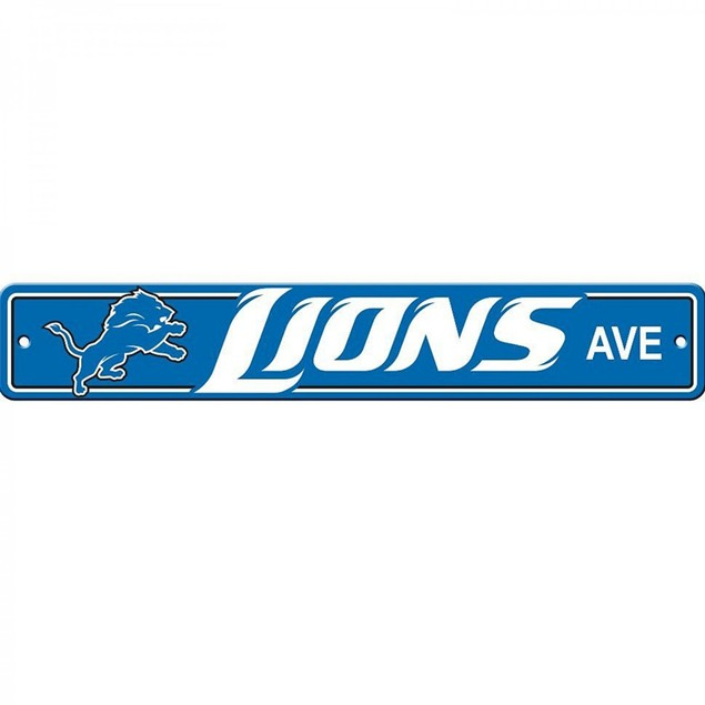 "Detroit Lions Ave Street Sign 4""x24"" NFL Football Team Logo Avenue Man Cave"