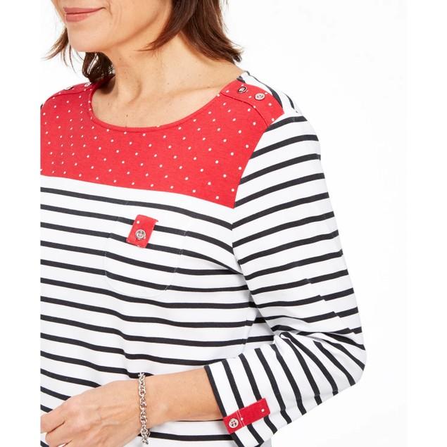 Karen Scott Sport Colorblocked Striped Top Bright Red Size Large