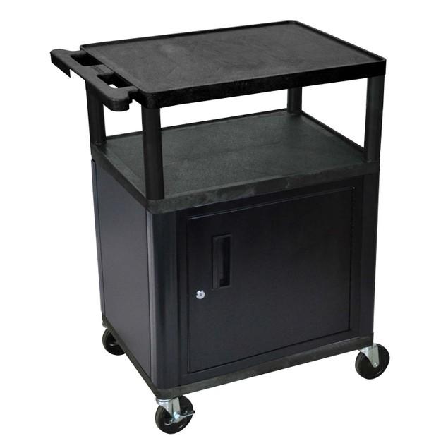 """Luxor 34"""" Three Flat Shelves AV Cart with Cabinet - Black"""
