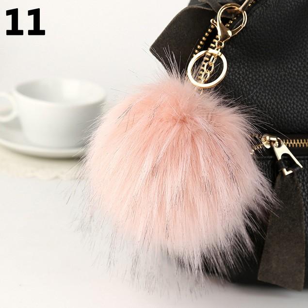 Fluffy Soft PomPom Ball Car Handbag Hanging Pendant Keychain Key Ring 13cm