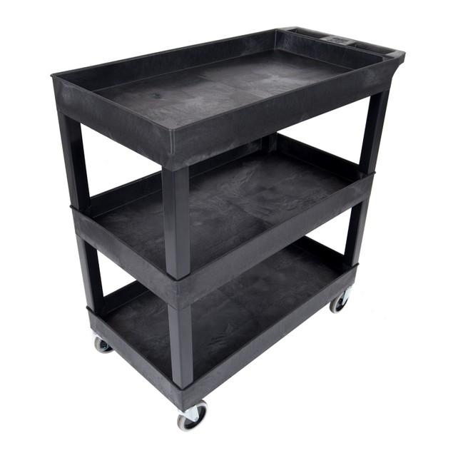 "Luxor 32""W x 18""D Mobile 3 Shelf Utility Storage Tub Cart - Black, 2 Pack"