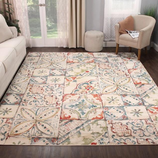 Modern Indoor Area Rug Collection, Textured Geometric Patchwork Runner Rug