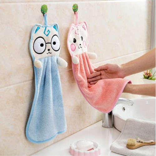 2-Pack Cute Thick Hanging Hand Towel Wipe Pink Blue