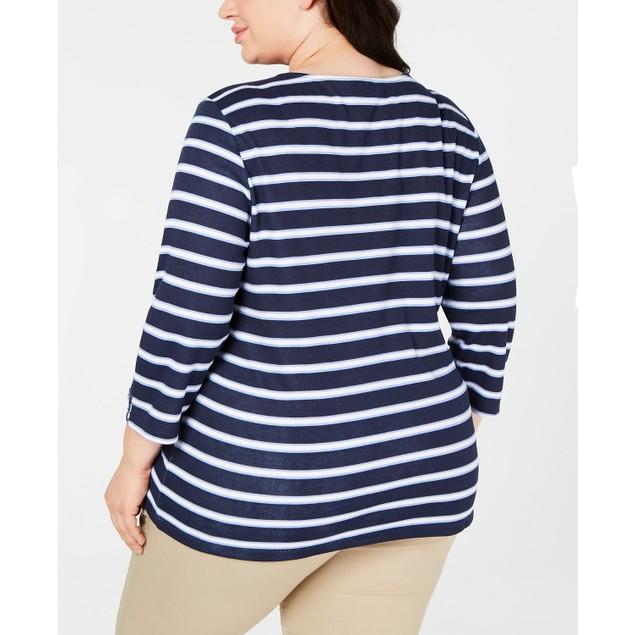Karen Scott Women's  Printed 3/4-Sleeve Top Blue Size 3X