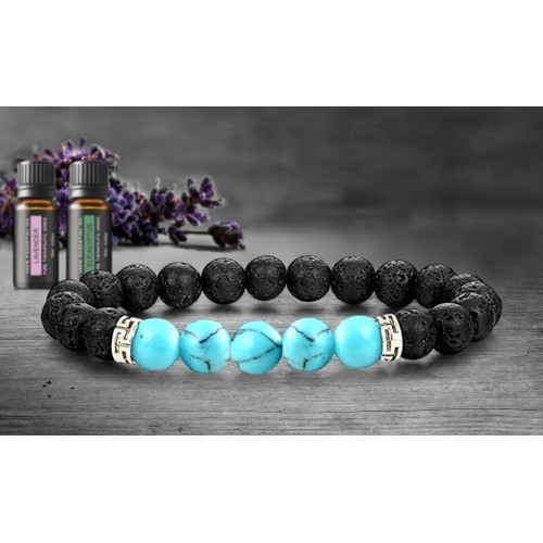 Lava Stone Chakra Diffuser Bracelet with Optional Essential Oils