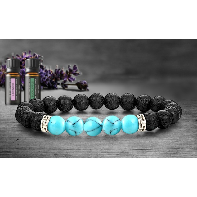 Lava Stone Chakra Diffuser Bracelet with 2 Optional Essential Oils