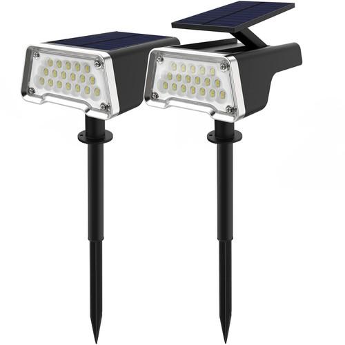 2 Pack 36 LEDs Solar Landscape Spotlights IP67 Waterproof Solar Lights Outdoor