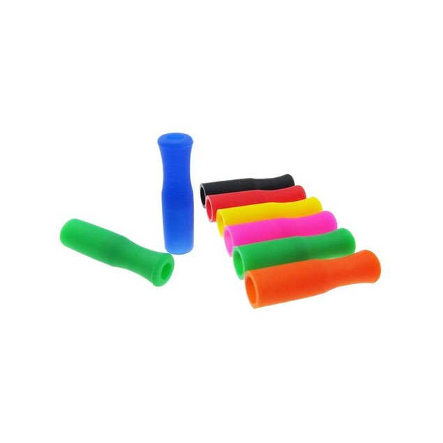 Reusable Silicone Straw Tip Covers for Metal or Paper Straws - 16 Pack