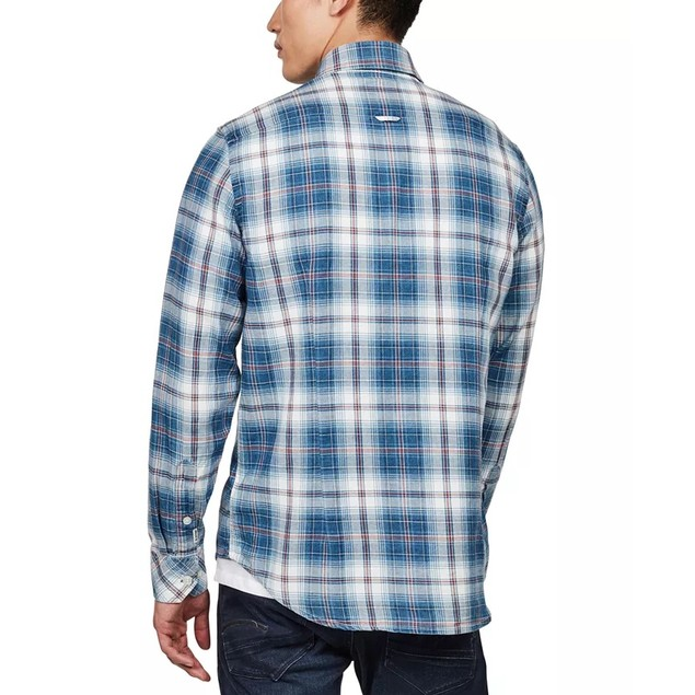 G-Star Raw Men's Bristum Slim-Fit Flannel Plaid Shirt  Blue Size Medium
