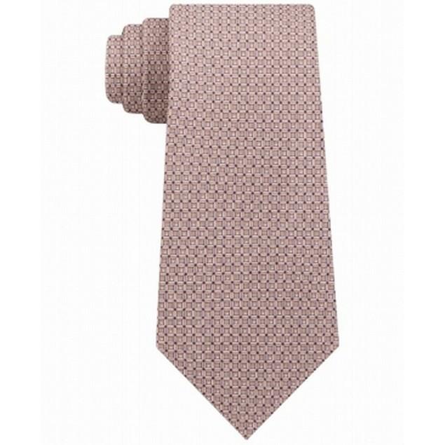 Michael Kors Men's Classic Geo Cube Silk Twill Tie Brown One Size
