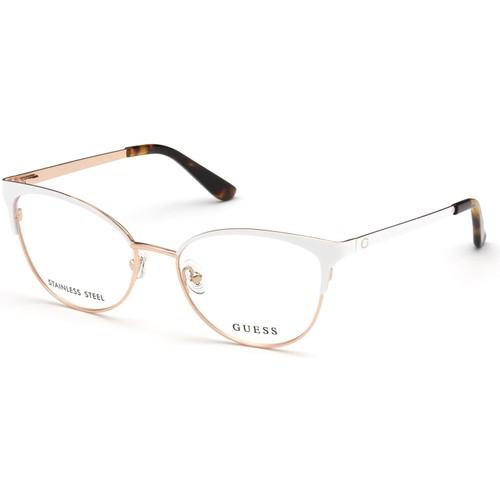 Guess Women Eyeglasses GU2796V 021 White/Rose Gold 52 17 140 Frames Cat Eye