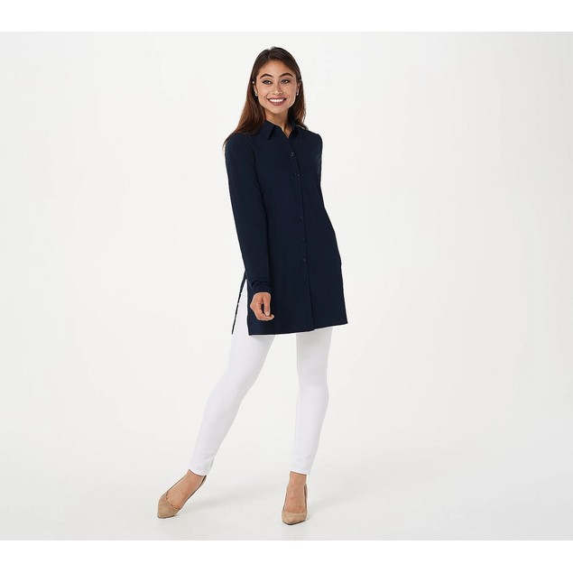 Susan Graver Regular Tech Woven Button-Front Big Shirt with Kni, Medium,