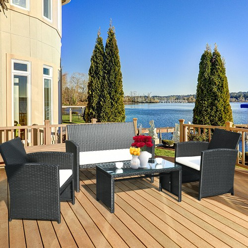 Costway 4PCS Patio Rattan Furniture Conversation Set