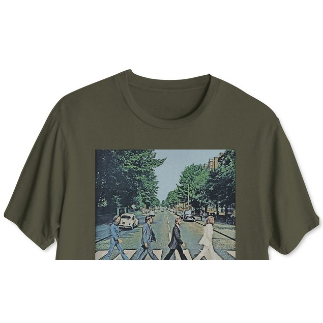 Hybrid Men's Beatles Abbey RoadGraphic T-Shirt Green Size Medium