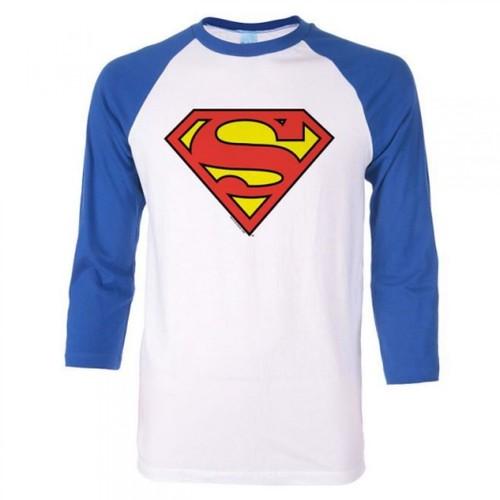 Superman Symbol Blue Sleeved Baseball T-Shirt