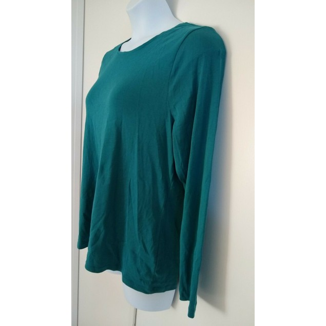 Charter Club Women's Pima Cotton Long-Sleeve Top  Green Size Medium