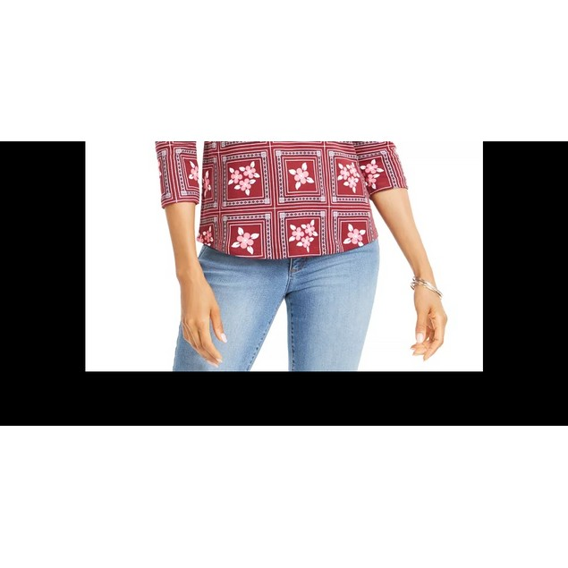 Charter Club Women's Printed 3/4-Sleeve Cotton Top Red Size Petite Medium