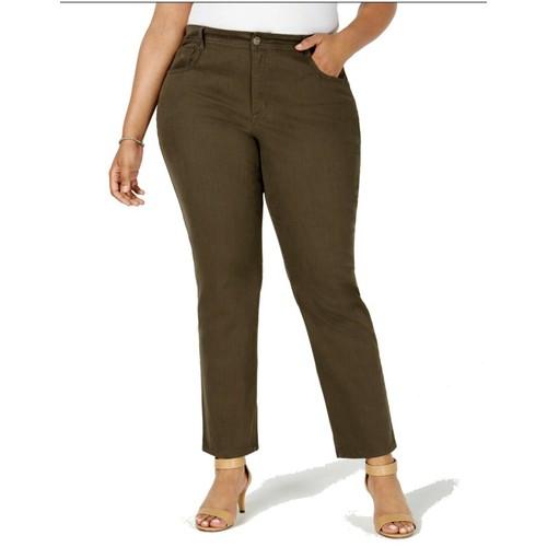 Style & Co Women's Plus Size Tummy-Control Slim-Leg Jeans Olive Size 14W