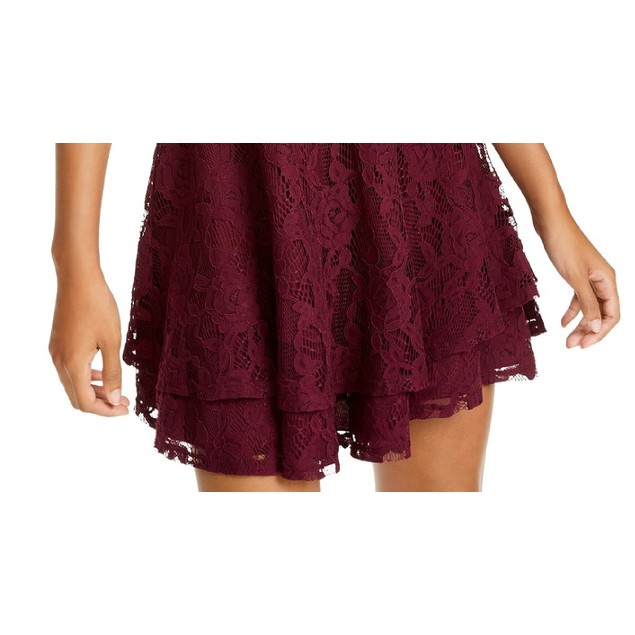Speechless Juniors' Lace Double-Skirt Fit & Flare Dress Purple Size 9