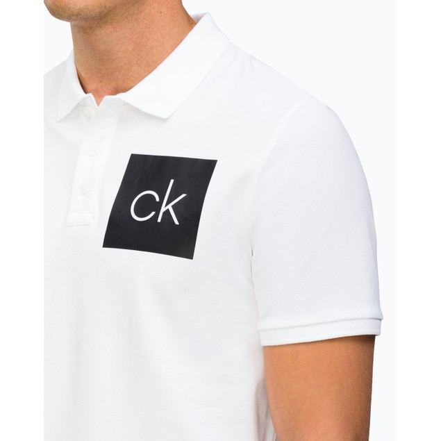 Calvin Klein Men's Chest Ck Logo Polo Shirt White Size Small