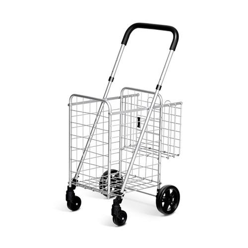 Costway Folding Shopping Cart Jumbo Basket Rolling Utility Trolley Adjustab