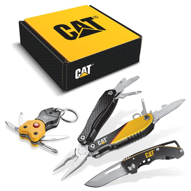 CAT 3-Piece Multi-Tool and Pocket Knife Bundle w/ Gift Box