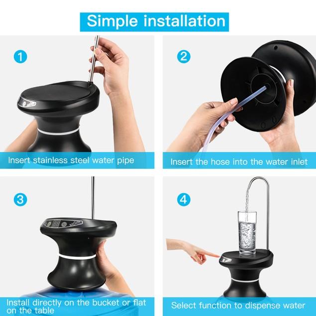 WIRELESS WATER BOTTLE PUMP DISPENSER DRINKING USB CHARGING