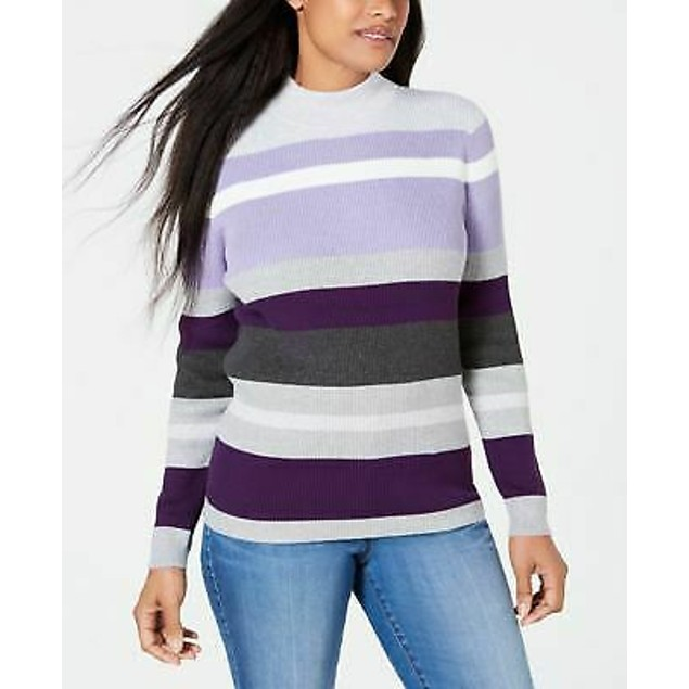 Karen Scott Women's Cotton Striped Sweater Purple Size Large