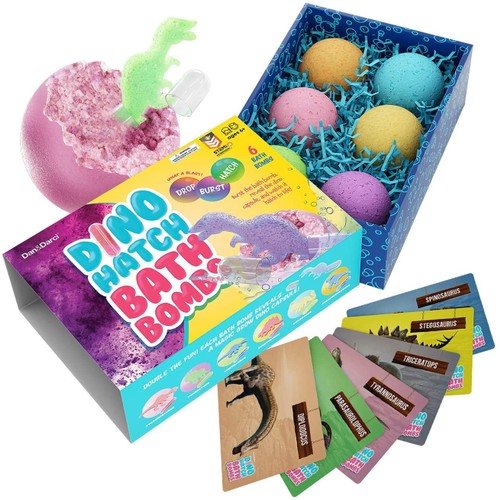 Dino Hatch Bath Bombs for Kids with Surprise Dino Capsule Inside