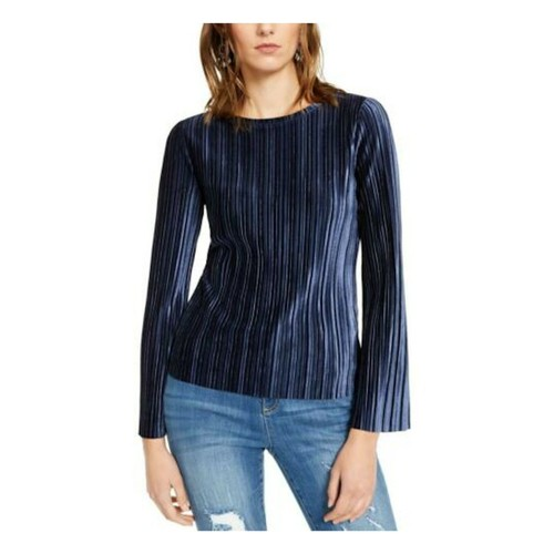 INC International Concepts Women's Pleated Velvet Top Navy Size Extra Large