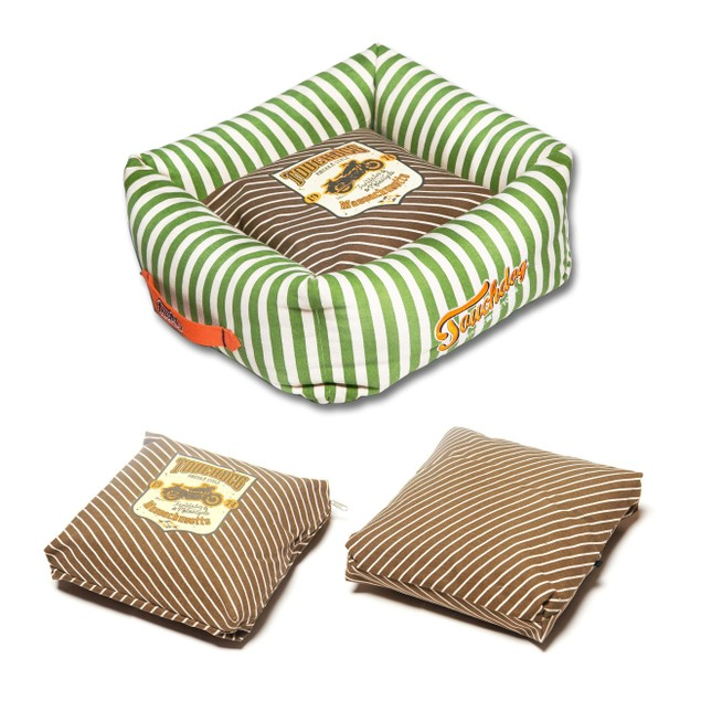 Touchdog Neutral-Striped Ultra-Plush Easy Wash Squared Dog Bed